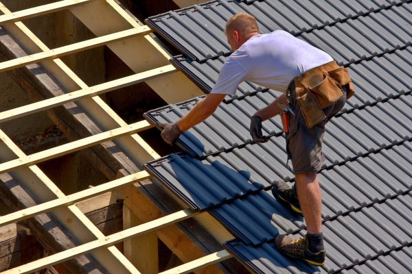 Roofer at work